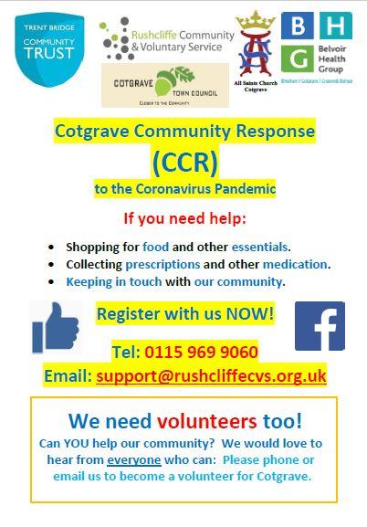 Cotgrave Community Response information leaflet